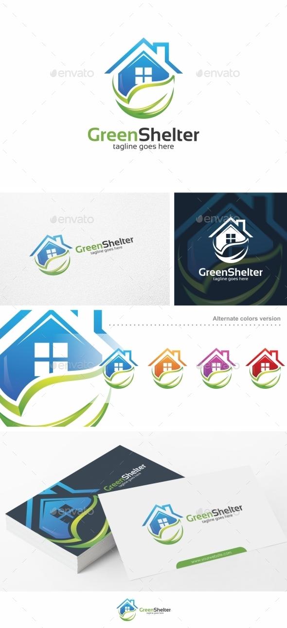 Green Shelter / House - Logo Template - Buildings Logo Templates