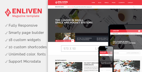 The Enliven – Parallax Blog and Magazine WordPress Theme
