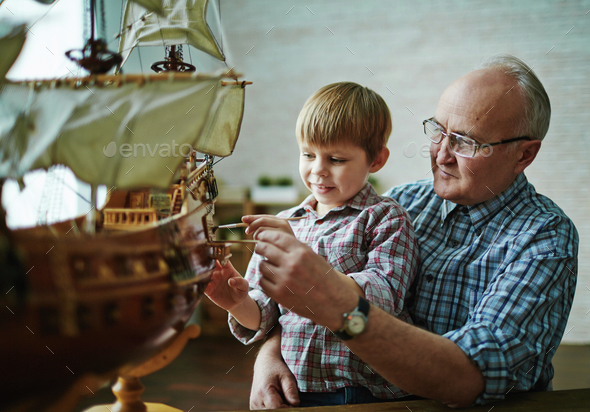 Grandfather and grandson - Stock Photo - Images