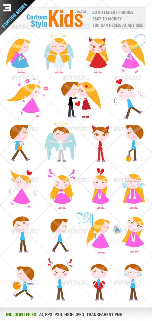 23 Cartoon Kid Characters - People Characters