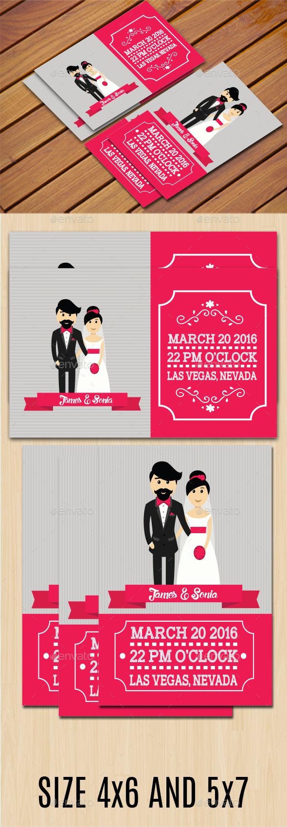 Simple Wedding Invitation II (Two Size) - Weddings Cards & Invites