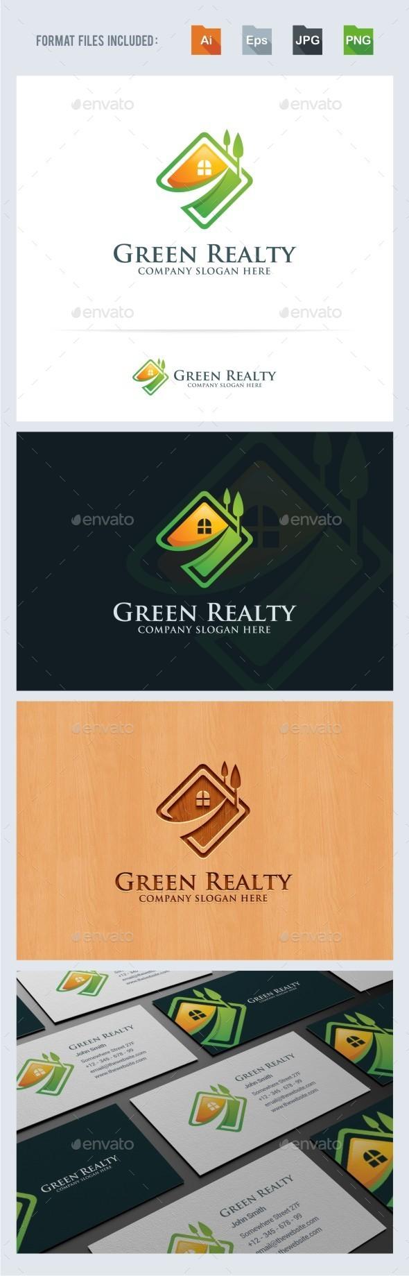 Green Realty - House - Real Estate Logo - Buildings Logo Templates