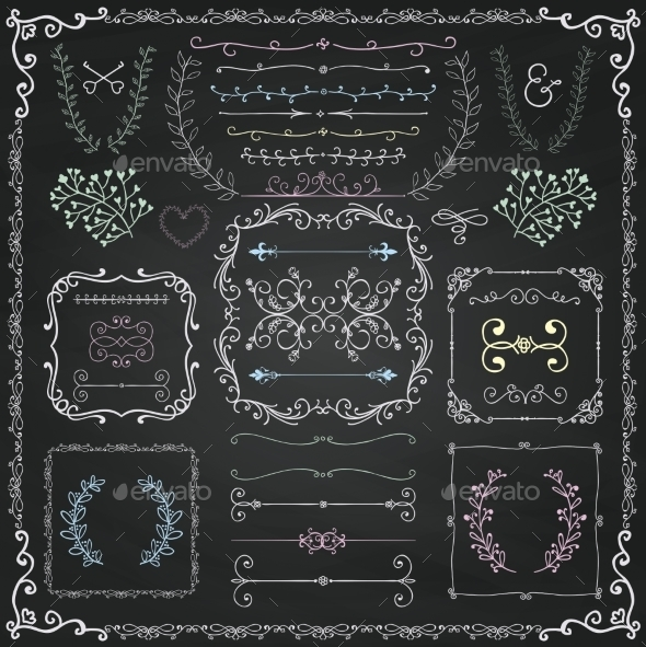 Chalk Drawing Decorative Doodle Design Elements - Borders Decorative