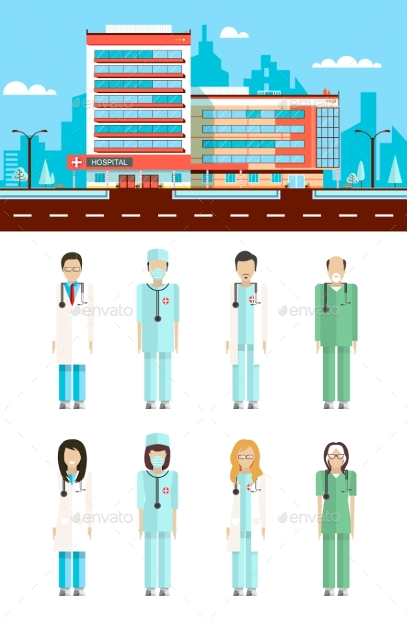 Clinic with Doctors - Health/Medicine Conceptual