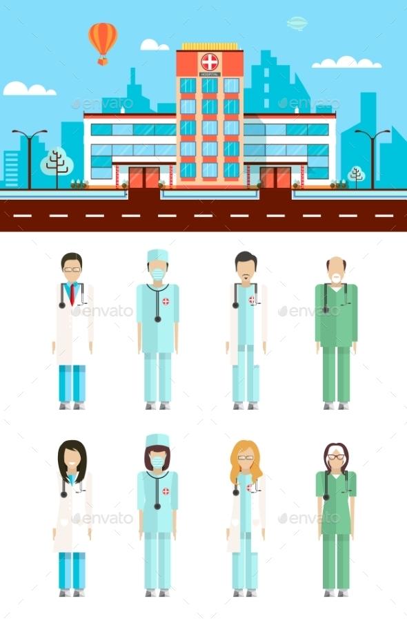 Hospital with Doctors  - Health/Medicine Conceptual