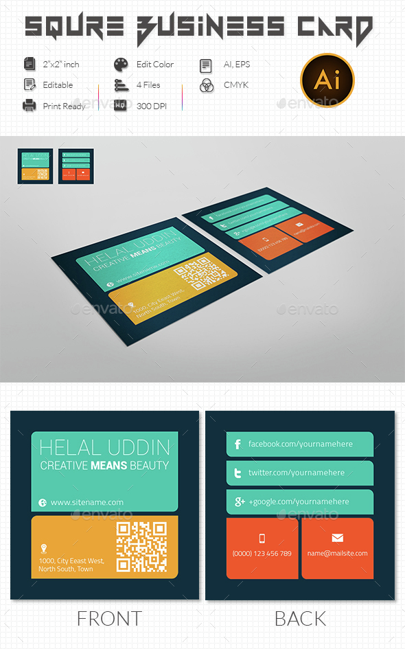 Metro Square Business Card  - Business Cards Print Templates