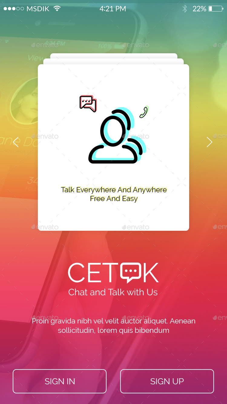 Cetok - Chat and Talk Mobile Apps UI KIT