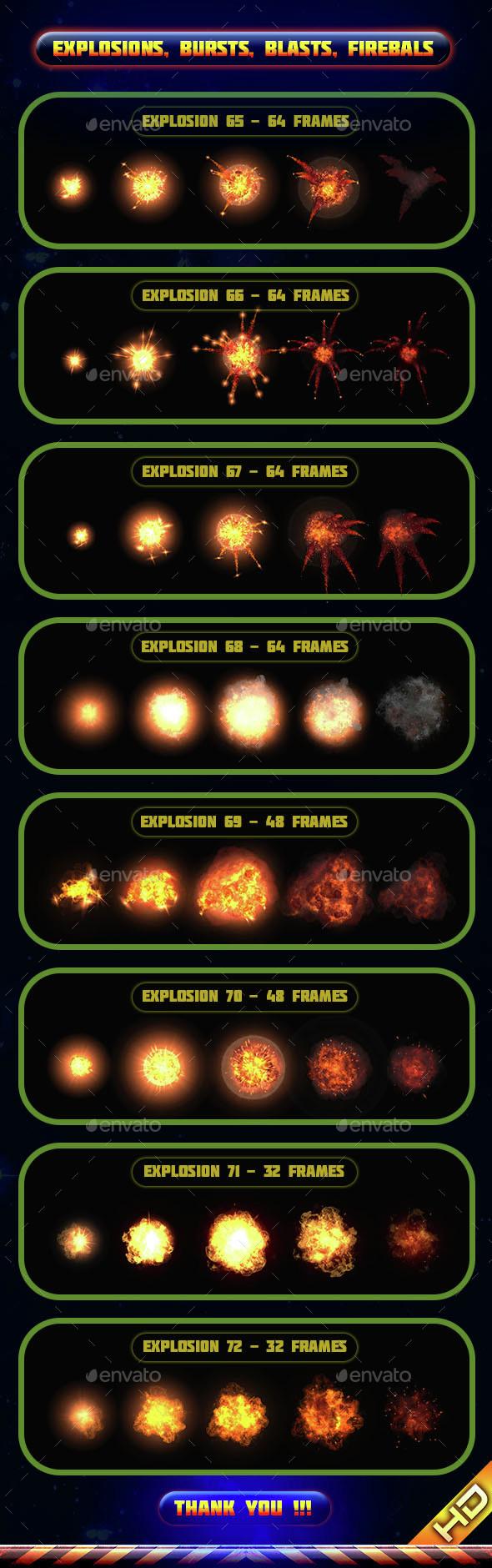 Explosions Blasts Bursts Detonations Fireballs 09 - Sprites Game Assets