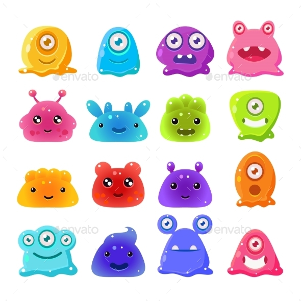 Cartoon Jelly Monsters Set - Monsters Characters