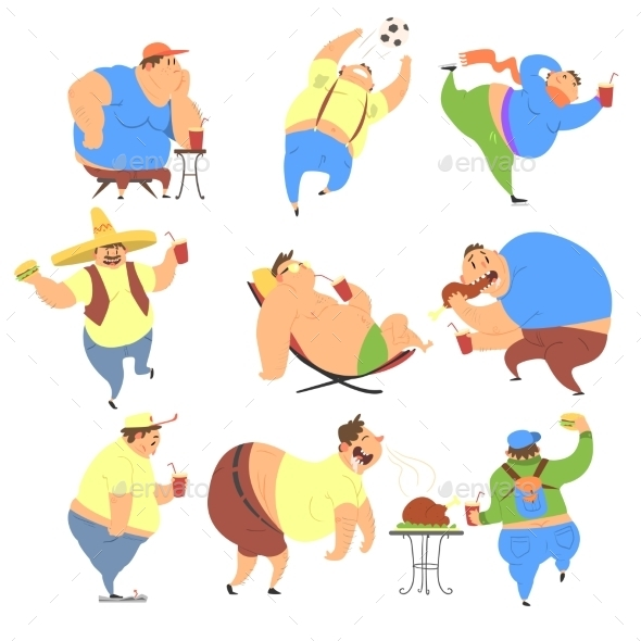 Overweight People Set - People Characters