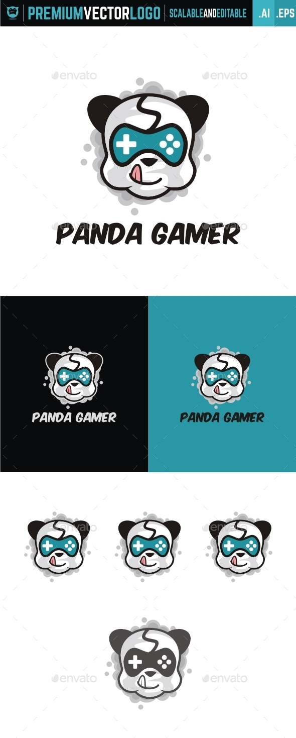 Panda Gamer - Animals Logo Templates