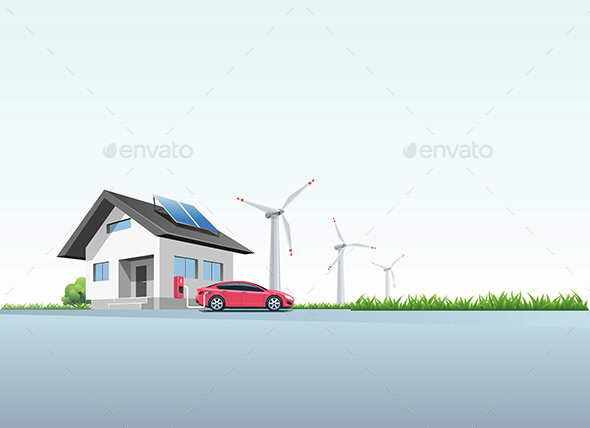 Electric Car Charging - Travel Conceptual