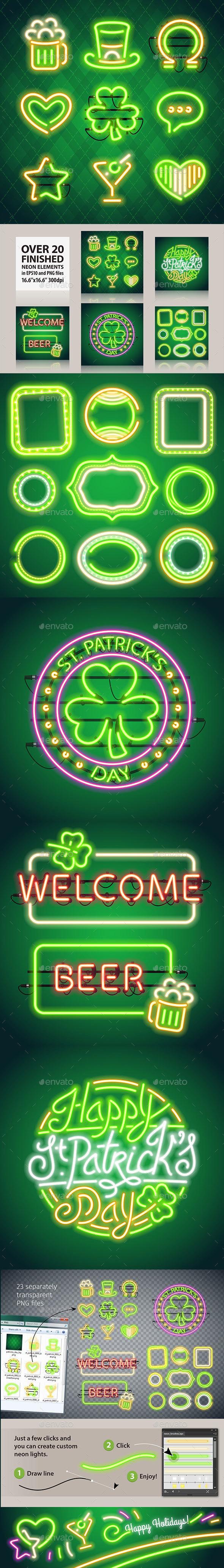 St Patricks Day Glowing Neon Signs Set - Decorative Symbols Decorative