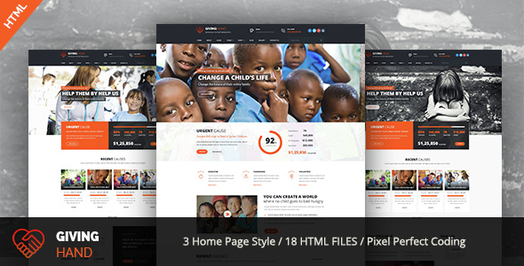 Giving Hand – Responsive HTML Template for Charity & Fund Raising