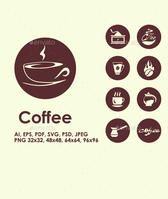 Coffee simple icons - Food Objects