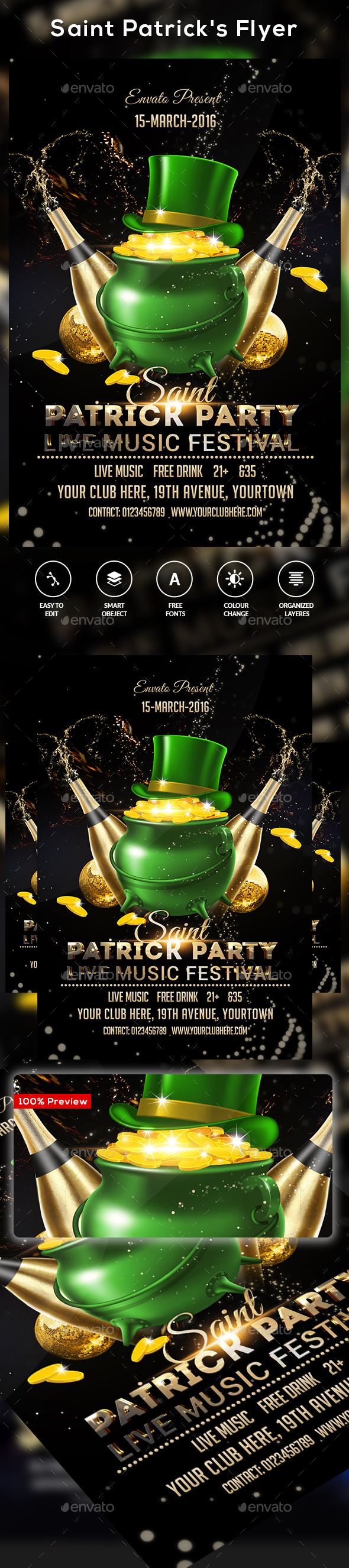 Saint Patrick's Day Flyer - Clubs & Parties Events