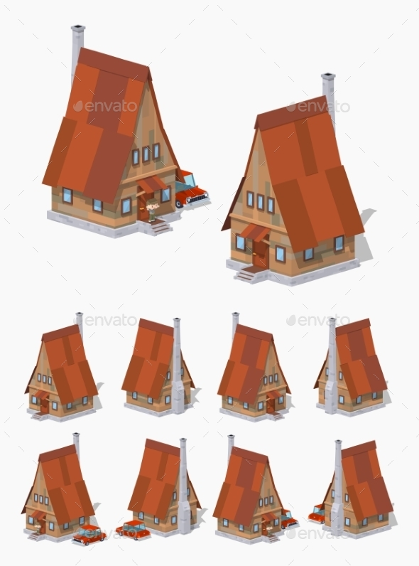 A-Frame Wooden House - Buildings Objects