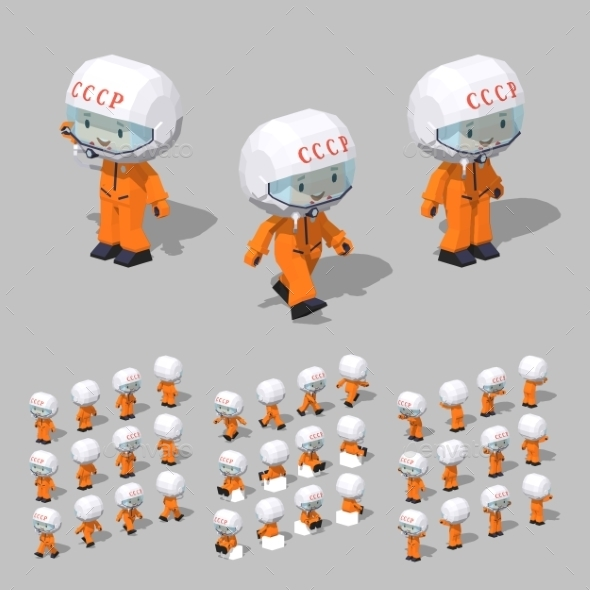 Low Poly Soviet Cosmonaut - People Characters