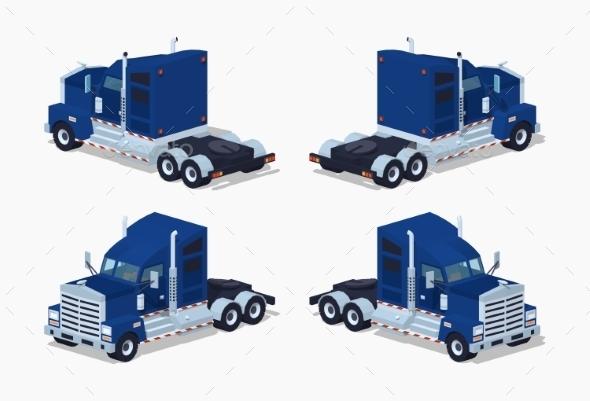 Dark-blue Heavy American Truck - Man-made Objects Objects