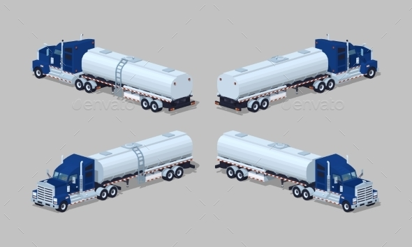 Dark-blue Heavy Truck With Silver Tank-trailer - Man-made Objects Objects