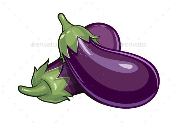 Couple of Eggplants - Food Objects
