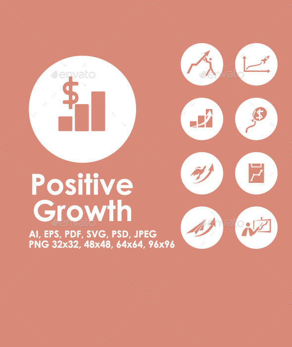 Positive Growth simple icons - Business Icons