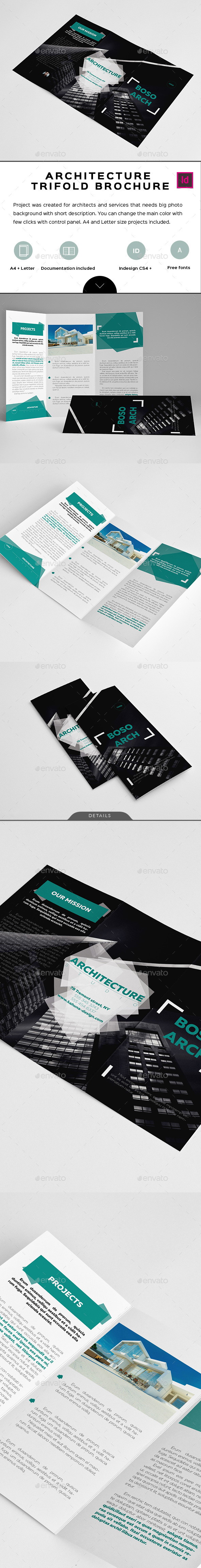 Boso Architecture Trifold Brochure - Brochures Print Templates