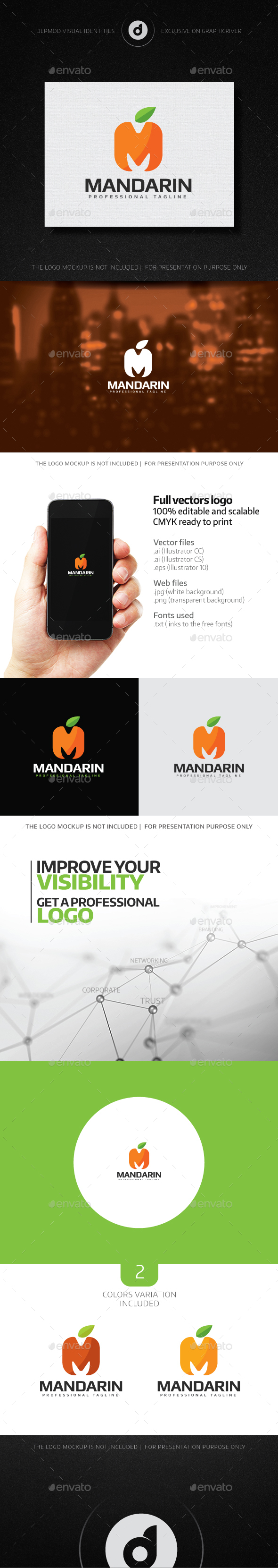 Mandarin Logo - Letters Logo Templates
