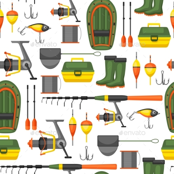Seamless Pattern with Fishing Supplies - Sports/Activity Conceptual