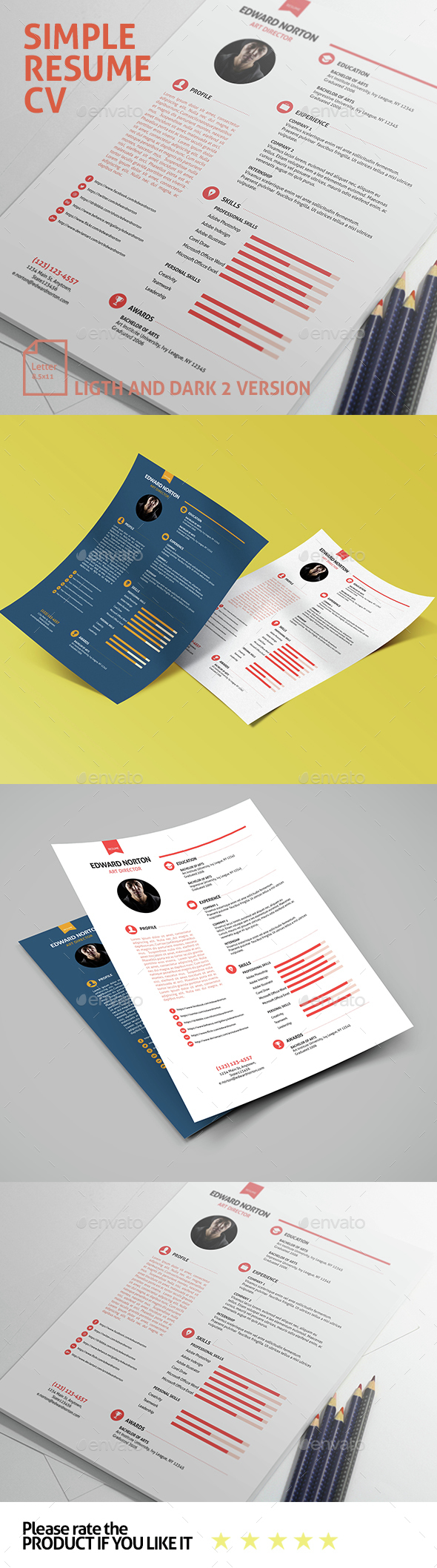 Simple Resume CV  - Resumes Stationery