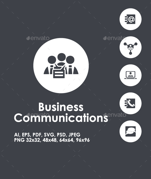 Business Communication simple icons - Business Icons