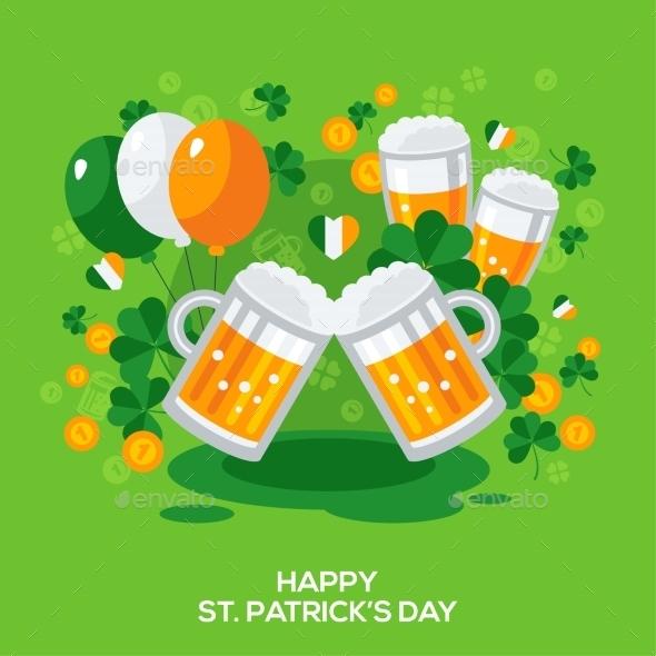 Saint Patricks Day Banner with Irish Symbols - Miscellaneous Seasons/Holidays