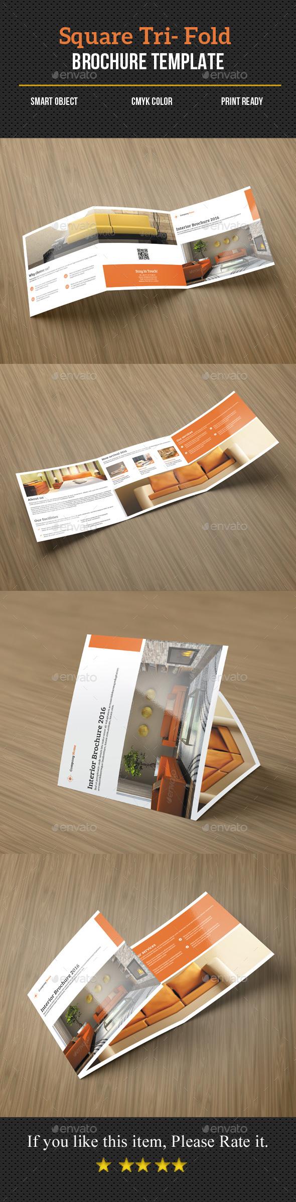 Square Tri-Fold Interior Brochure - Corporate Brochures
