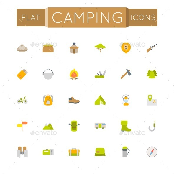 Vector Flat Camping Icons - Miscellaneous Icons