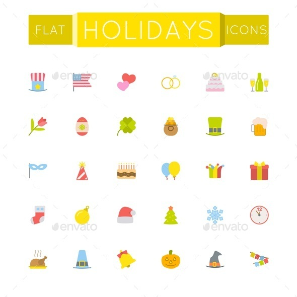 Vector Flat Holidays Icons - Seasonal Icons