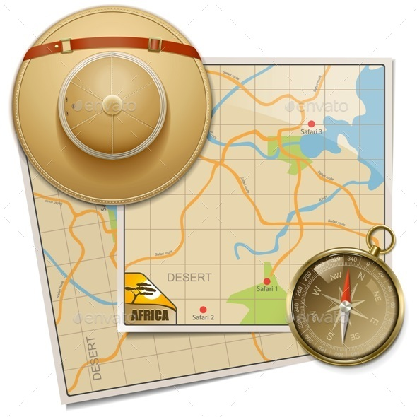 Safari Map with Hat - Travel Conceptual