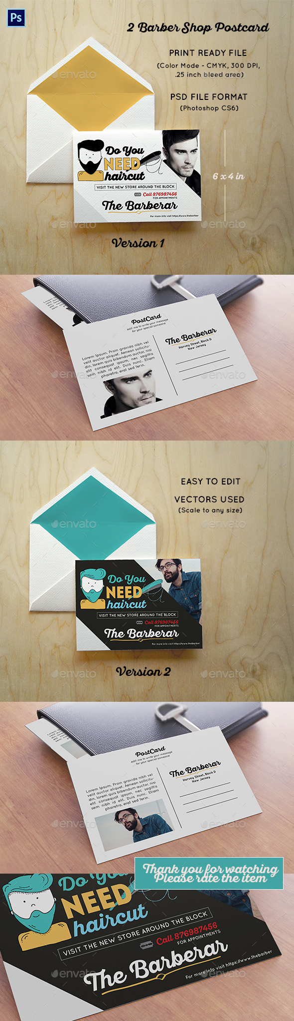 2 Barber Shop Postcard - Cards & Invites Print Templates