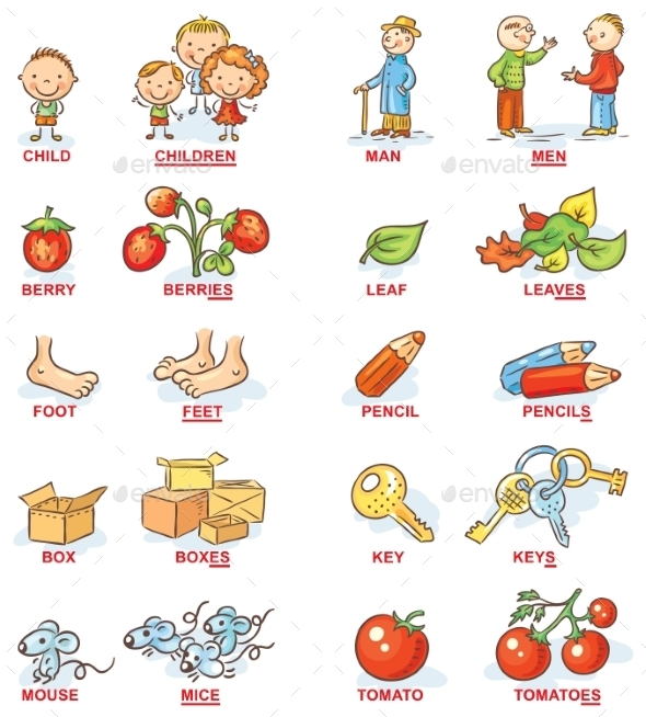 Plural of Nouns in Colorful Cartoon Pictures - Miscellaneous Vectors
