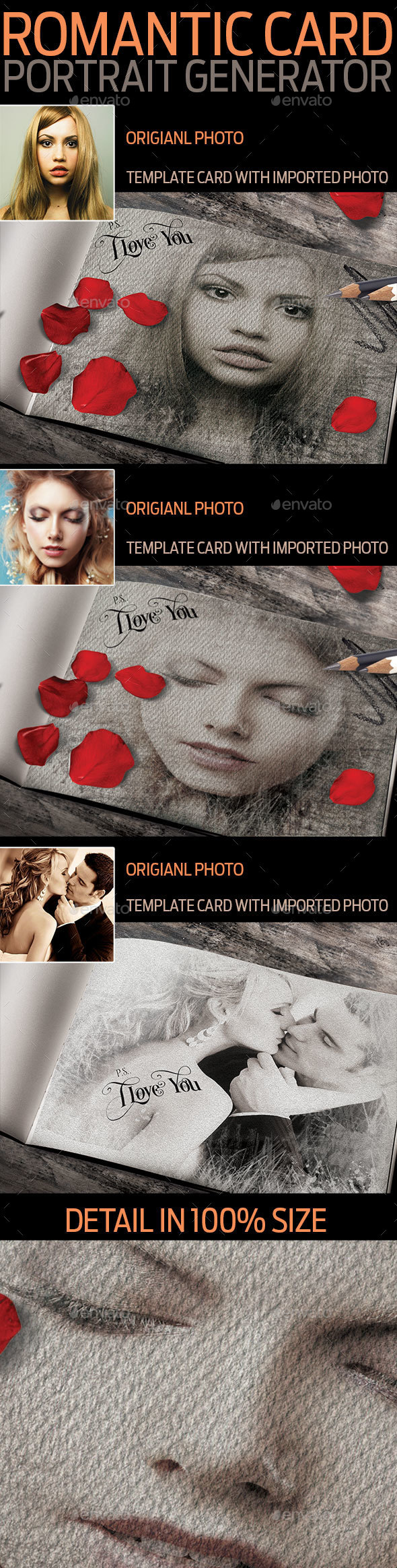 Romantic Card Portrait Drawing Generator - Graphics