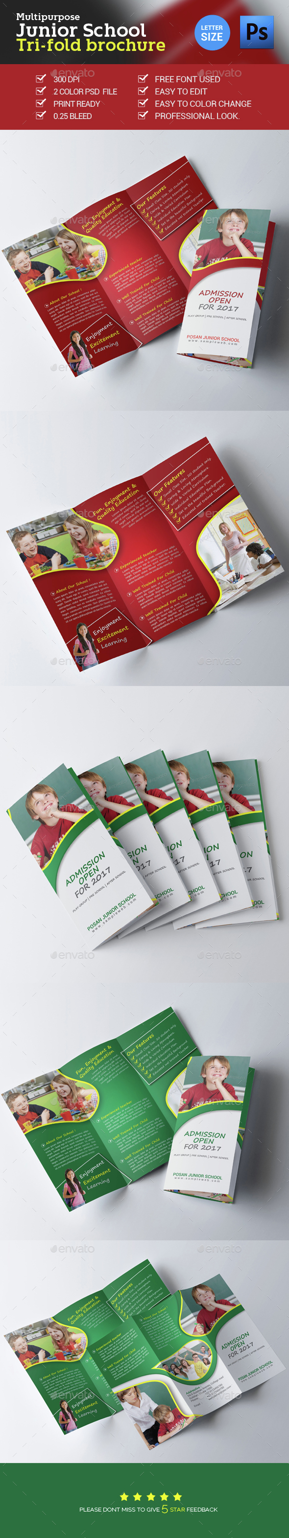 Junior School Admission Trifold Brochure - Brochures Print Templates
