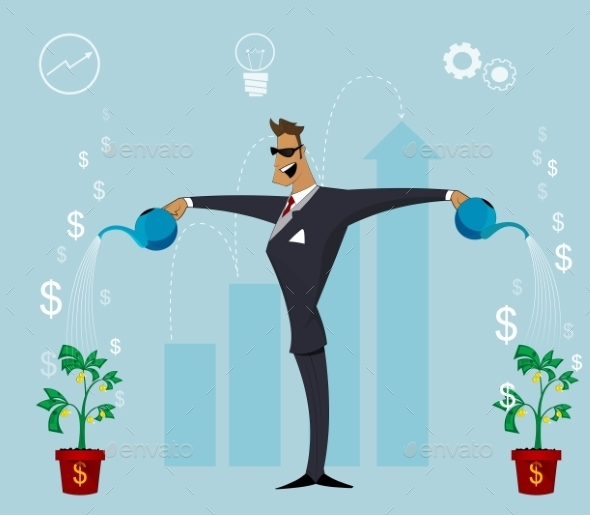 Person Watering Growing Plant with Money Flowers.  - Concepts Business