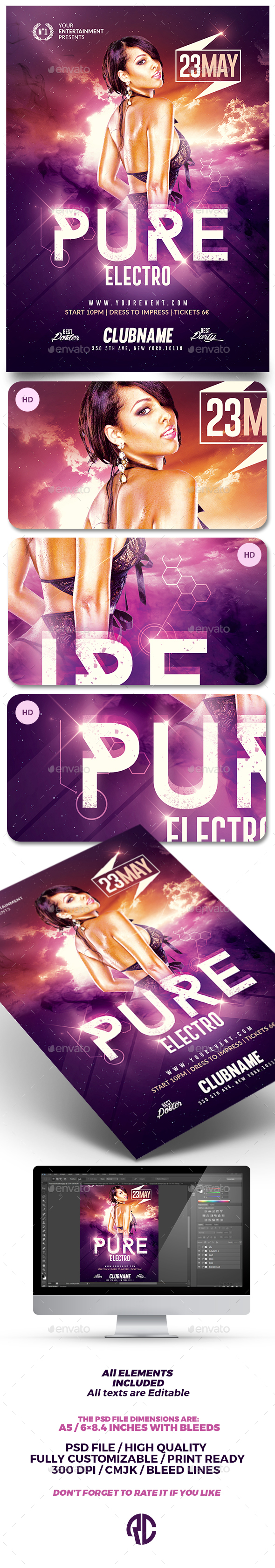 Pure Electro Flyer | Psd Template v3 - Clubs & Parties Events