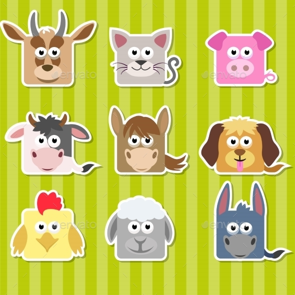 Cartoon Square Home Animals Stickers - Animals Characters