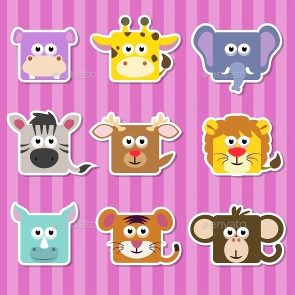 Cartoon Square Wild Animals Stickers - Animals Characters