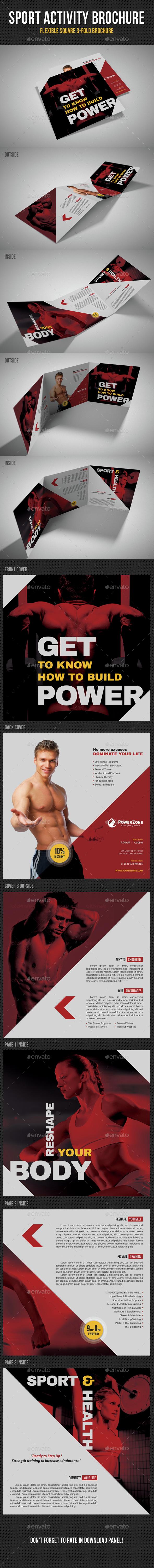 Sport Activity Square 3-Fold Brochure V06 - Brochures Print Templates