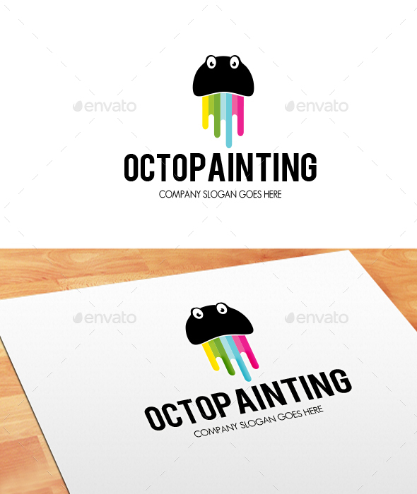 Octo Painting Logo - Animals Logo Templates