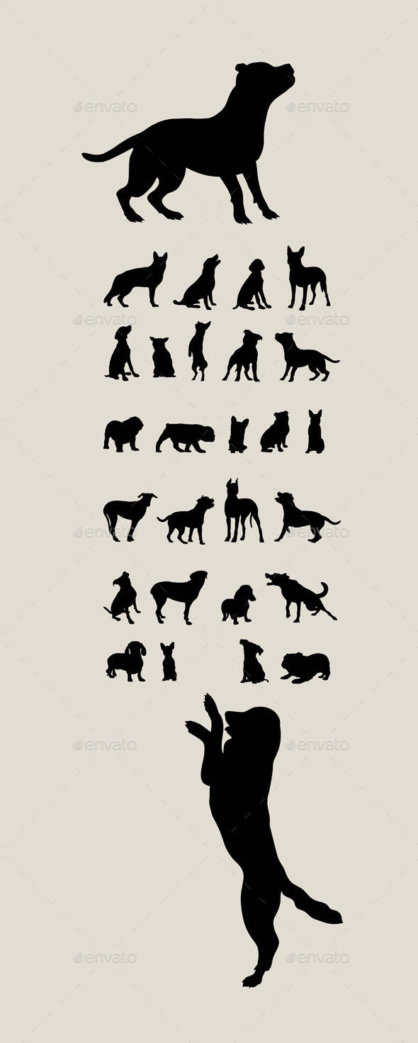 Dog Set Silhouettes - Animals Characters