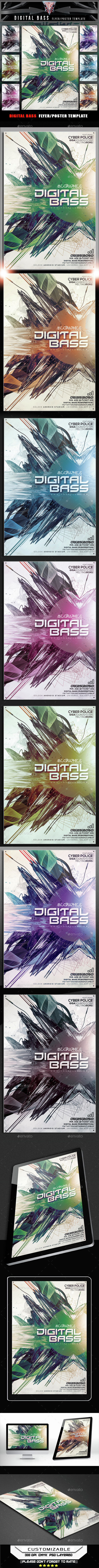 Digital Bass Flyer Template - Flyers Print Templates