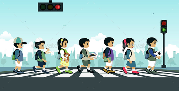 Students Walking on a Crosswalk - People Characters