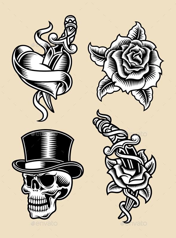 Tattoo Illustration Set - Tattoos Vectors